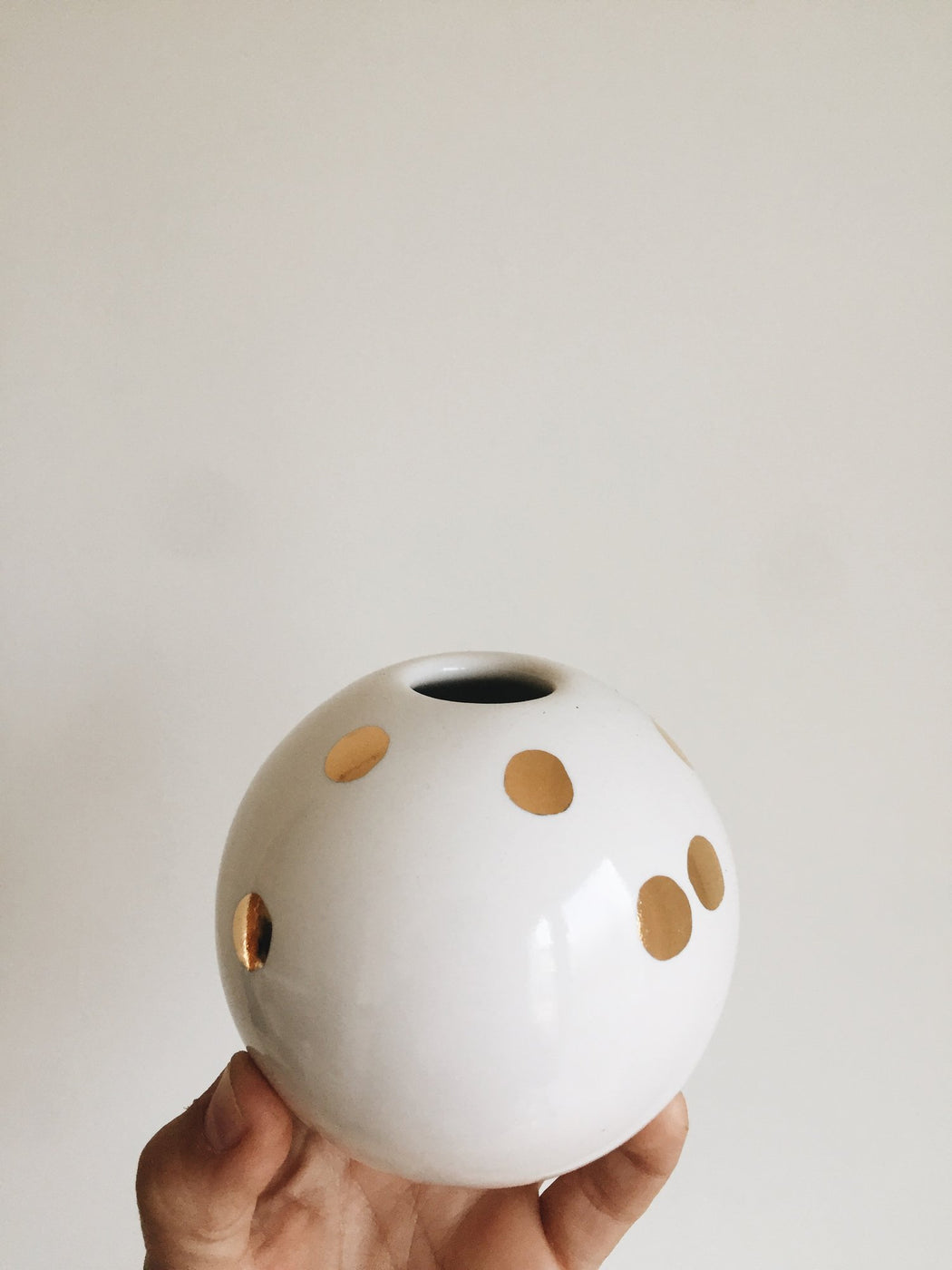 White + Gold Ball Vase