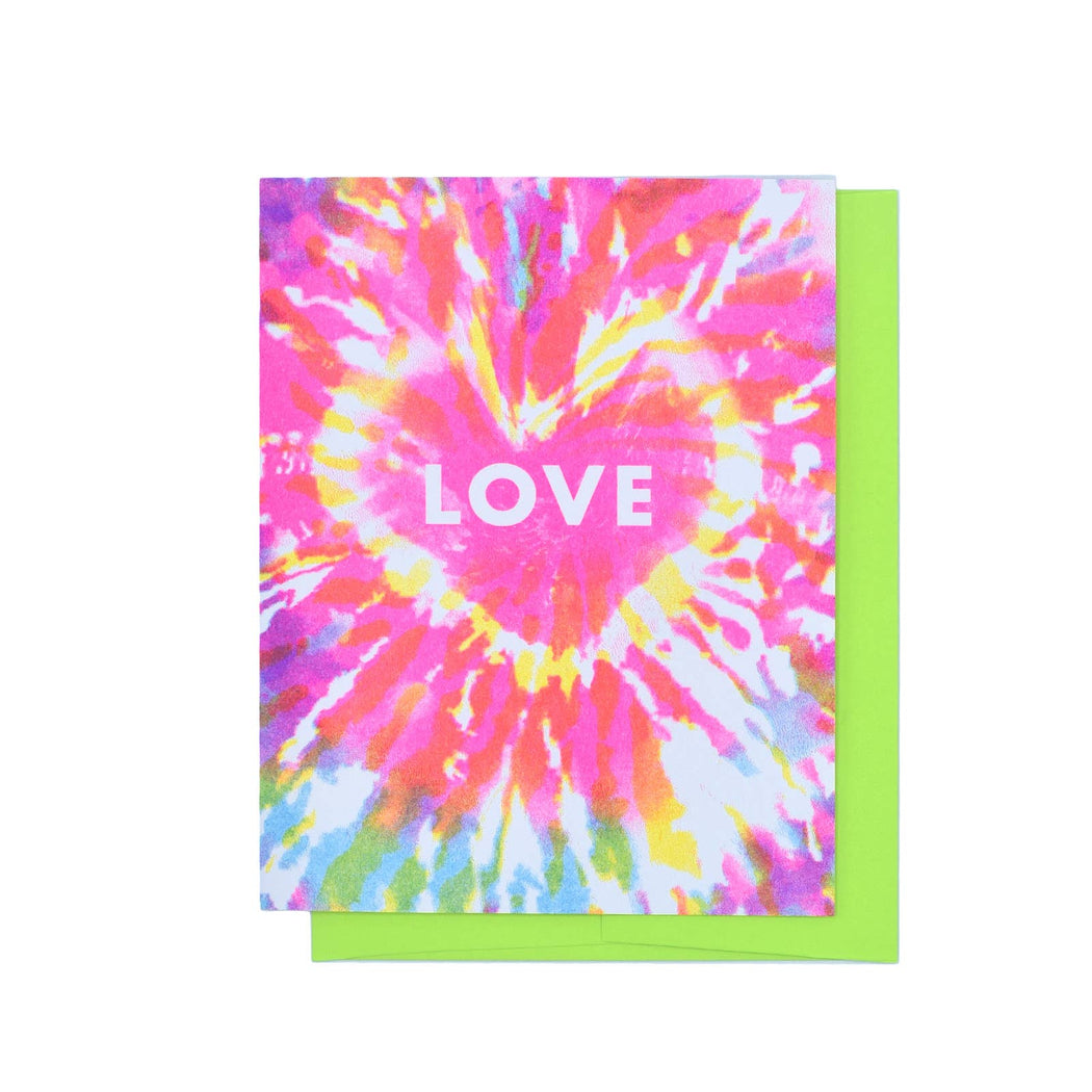 """Love Tie Dye Retro"" Risograph Greeting Card"