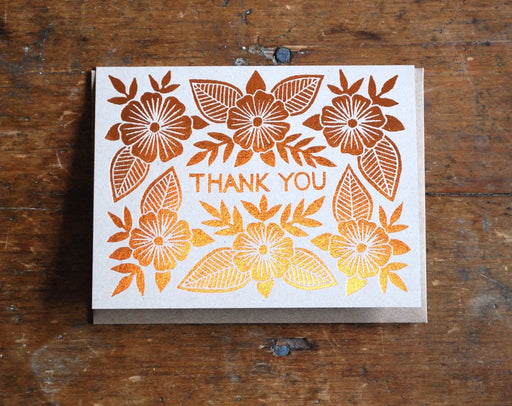 """Thank You"" Foil Stamped Greeting Card"