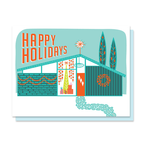 """Mid-Century Holiday Home"" Greeting Card"