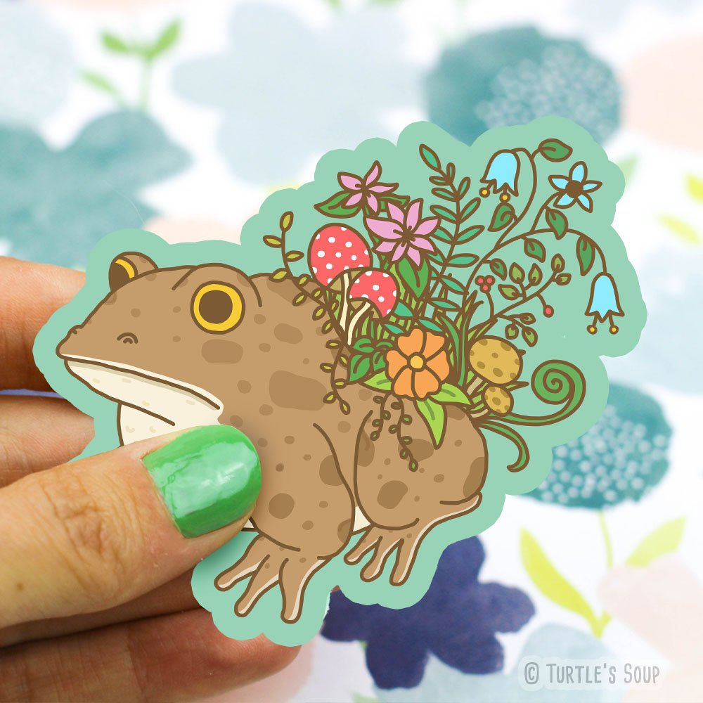 Turtle's Soup - Botanical Toad Vinyl Sticker