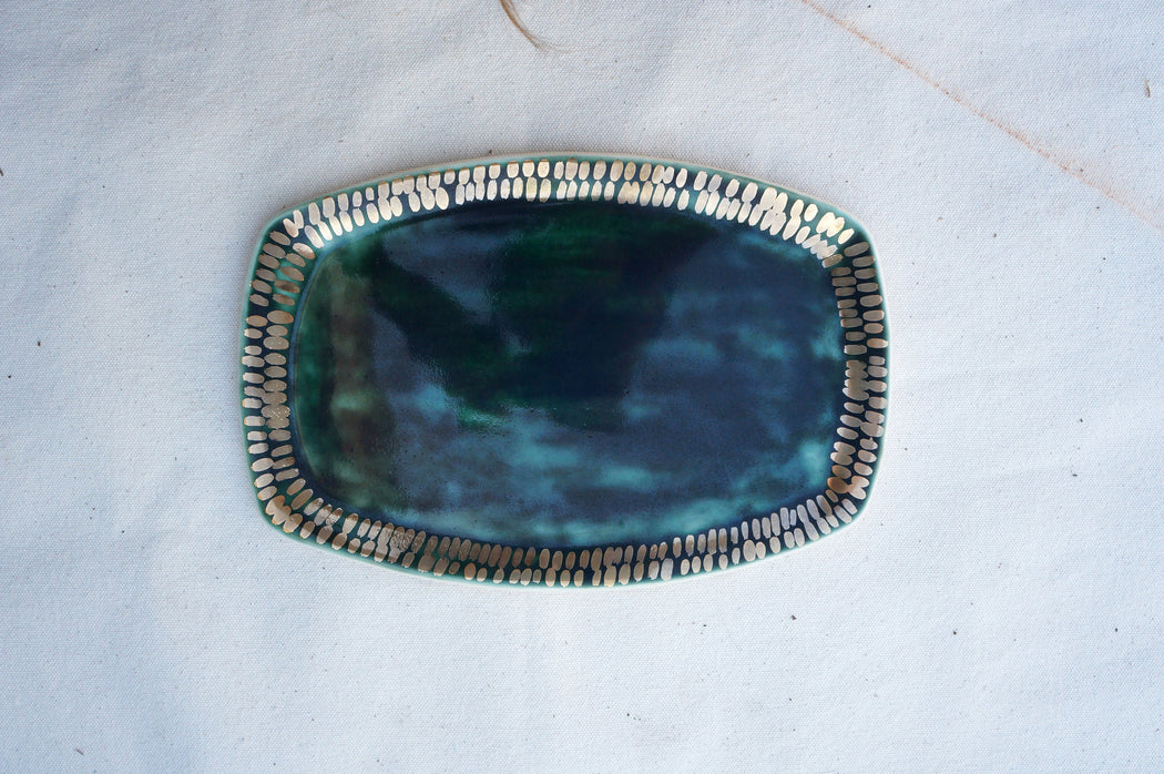 Emerald + Gold Dash Oval Vanity Tray
