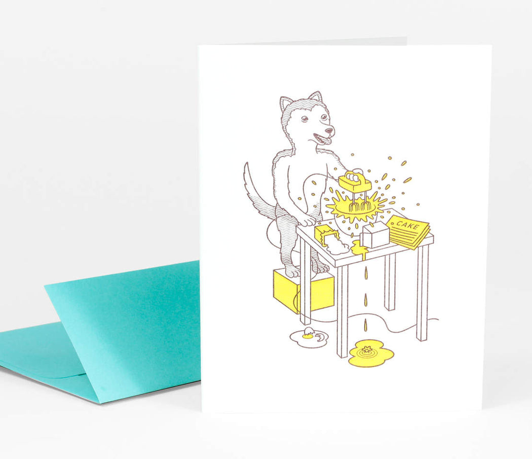 """Dog Making Birthday Cake"" Greeting Card"