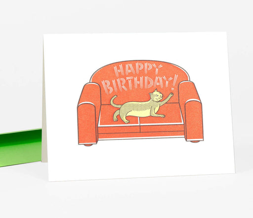 """Happy Birthday"" Cat on Sofa Card"