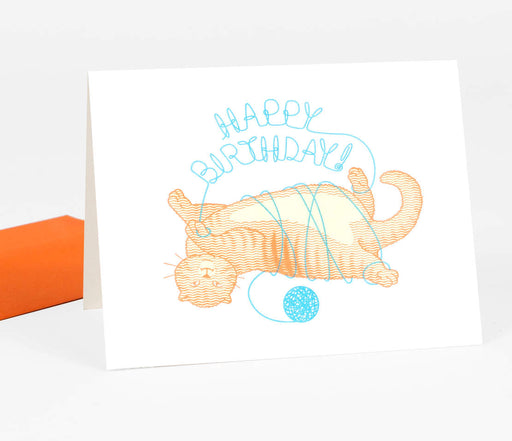 """Happy Birthday"" Cat With Yarn Card"
