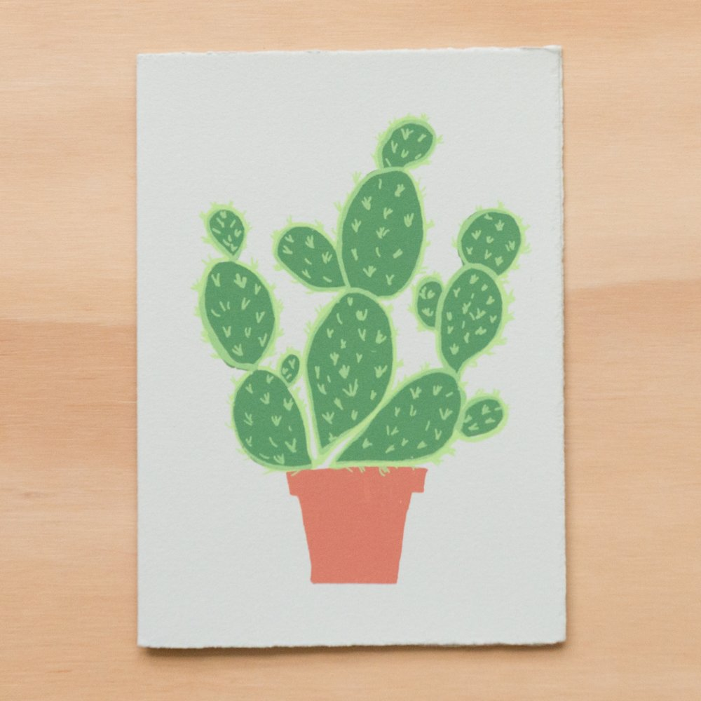 """Potted Cactus"" Greeting Card"