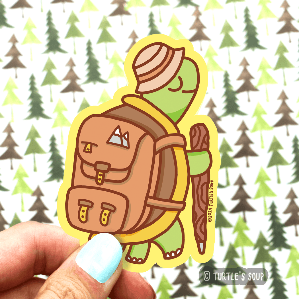 Hiking Turtle Vinyl Sticker