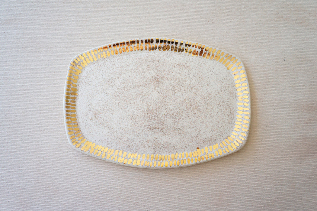 Speckled Oatmeal Vanity Tray + Gold