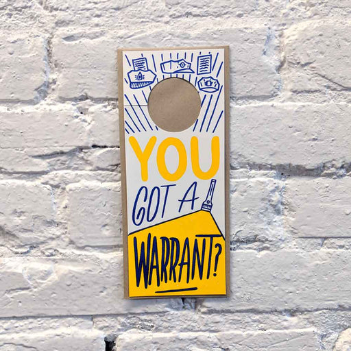 """Warrant"" Doorknob Card"