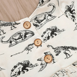 Jurassic Dinosaur Print Long Sleeve Dress