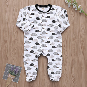 Cartoon hedgehog print long sleeve romper