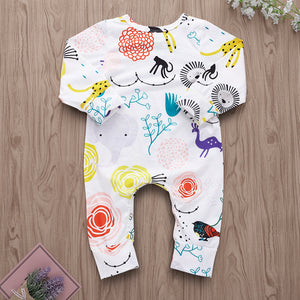 Animal world cartoon lion pattern romper