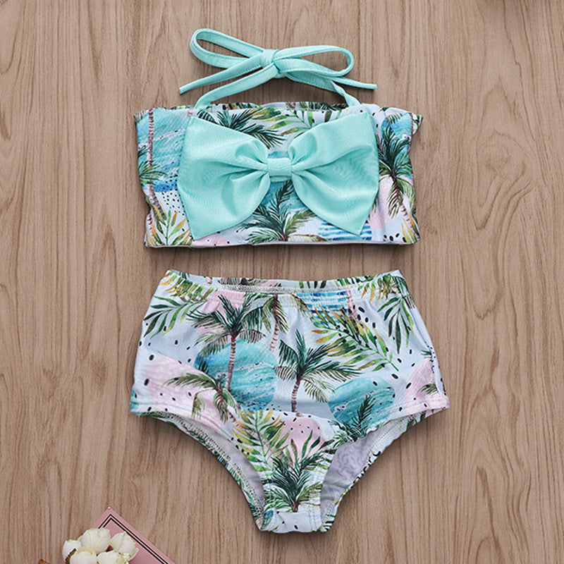 Coconut Wave Print Sling Swimsuit Set