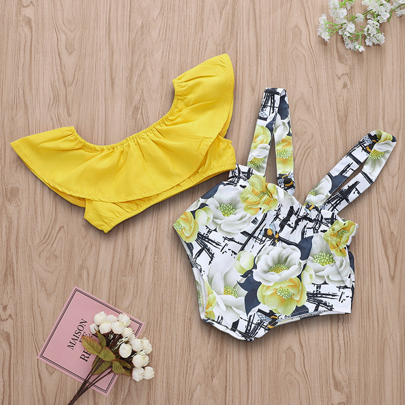 Bee flower print strap pants suit