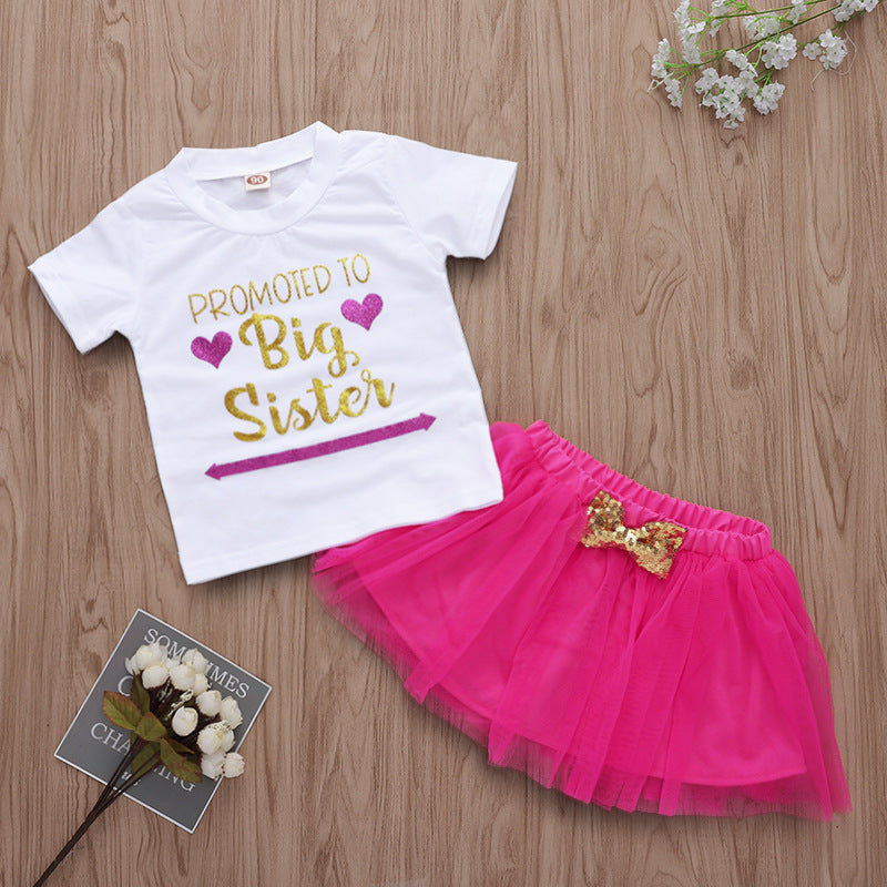 Big Sister Letter Print Kids Set