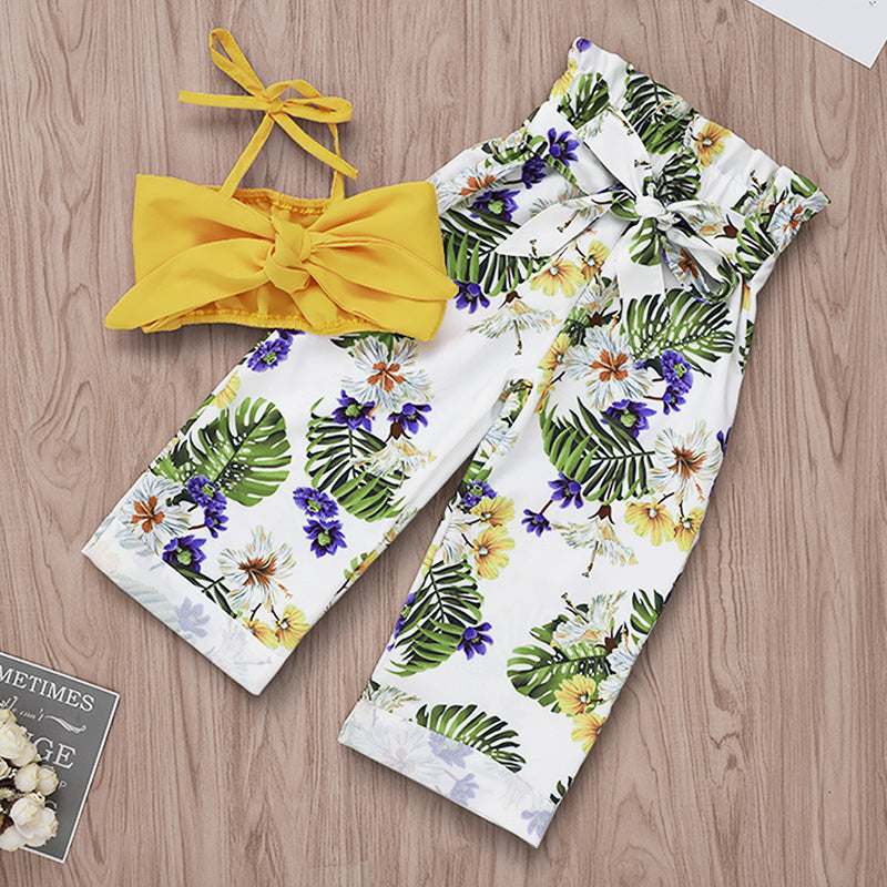 Flower print bow-knot set