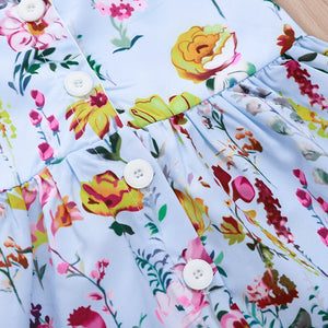 Full color flower print dress