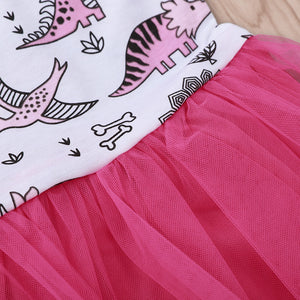 Cartoon little dinosaur print dress
