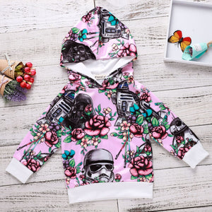 Flower robot helmet print child sweater