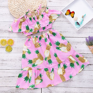 Pineapple Printed Lotus Leaf Skirt