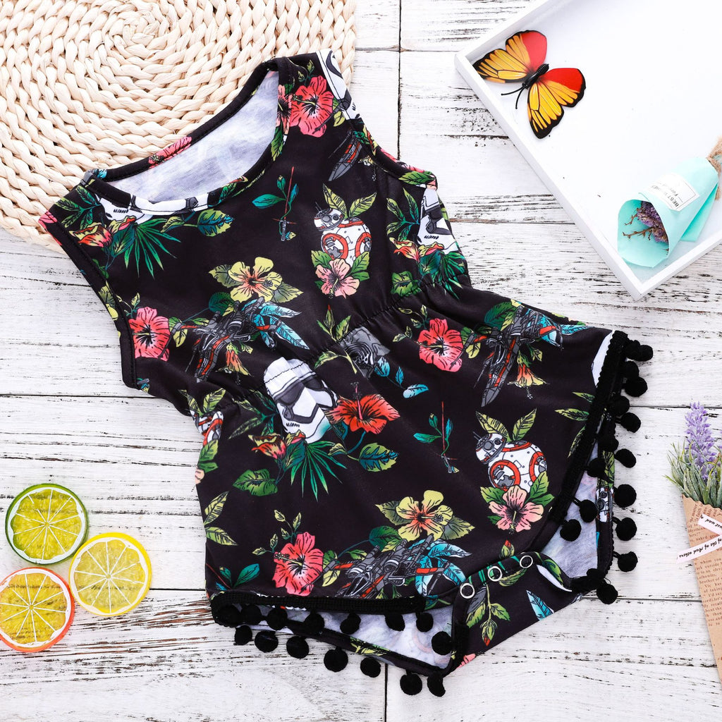 Galaxy battleship flower print romper
