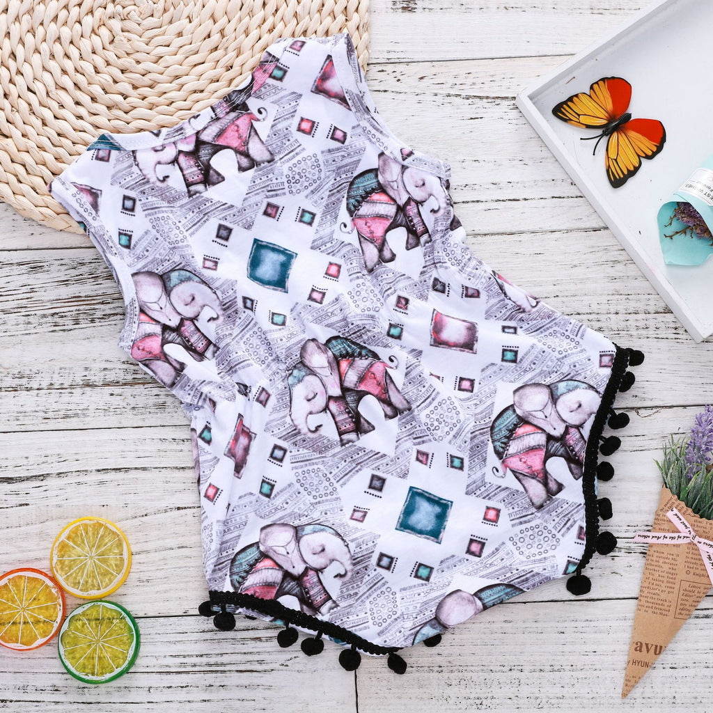 Colored gemstone elephant print romper