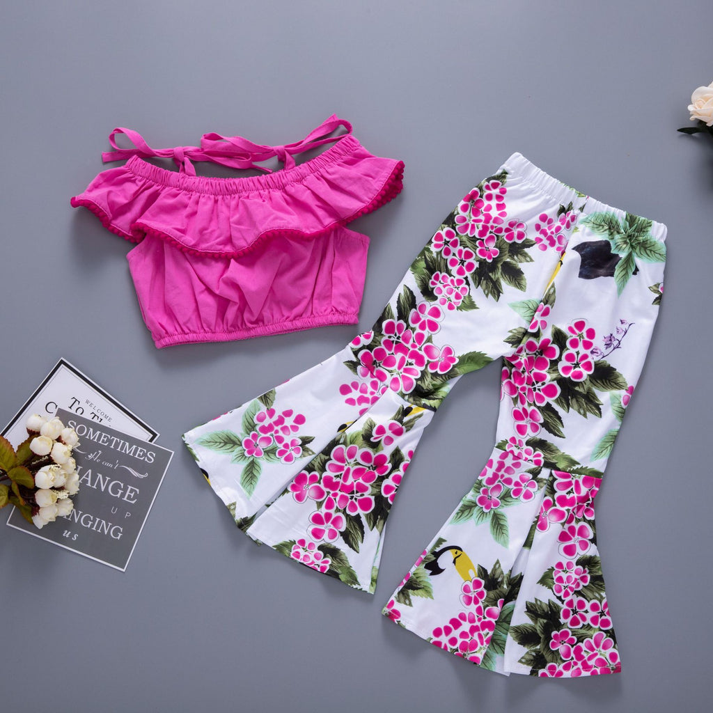 Sling top pink flower pants suit