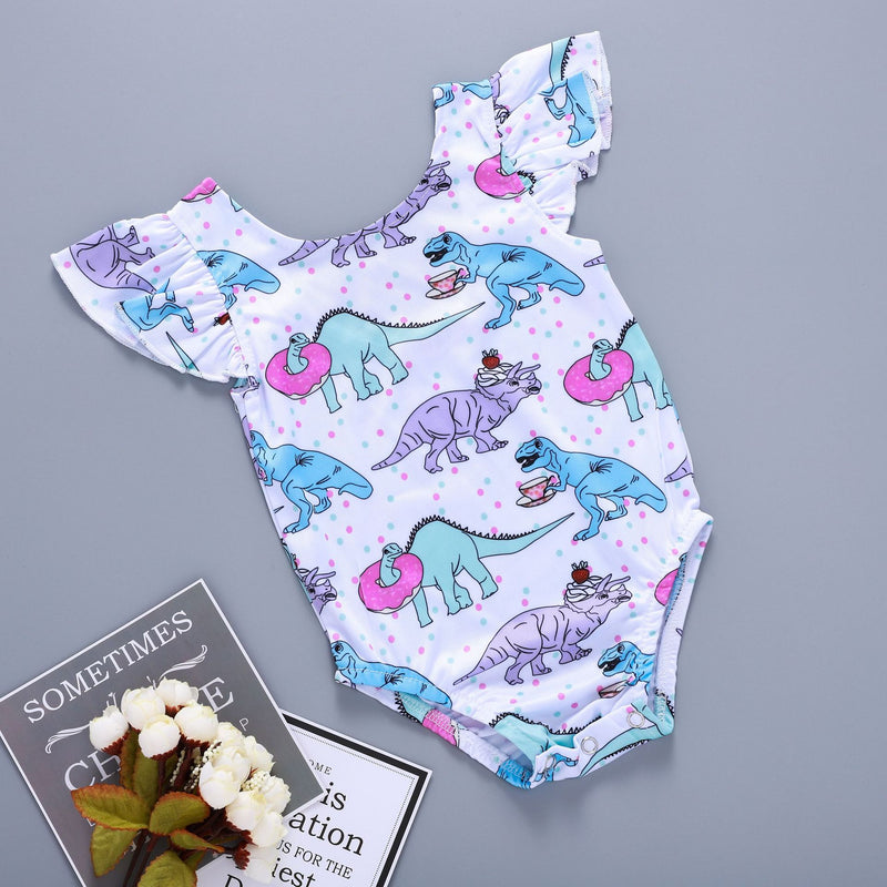 Cartoon dinosaur dessert pattern romper