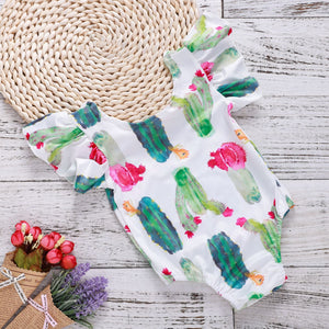 Cartoon cactus flower print romper