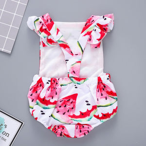 Painted watermelon print romper