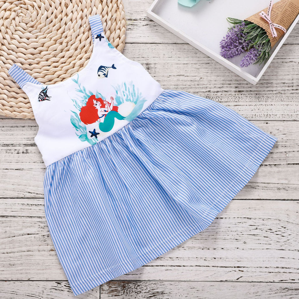 Mermaid Princess Print Blue and White Strip Dress