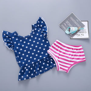 Flag Star Print Striped Kids Set