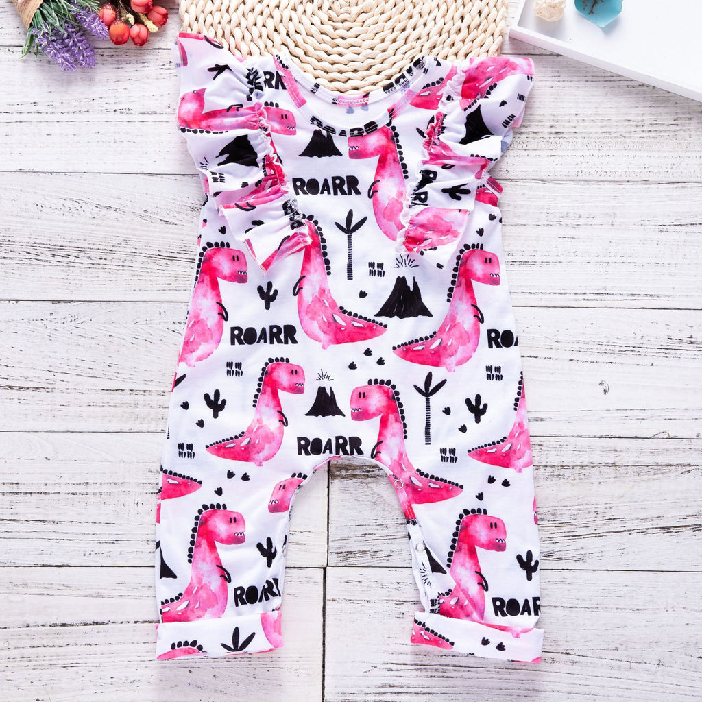 Painted cartoon little dinosaur pattern romper