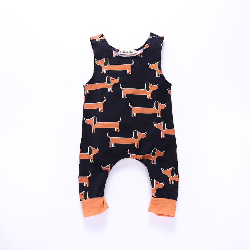 Long ear puppy print romper