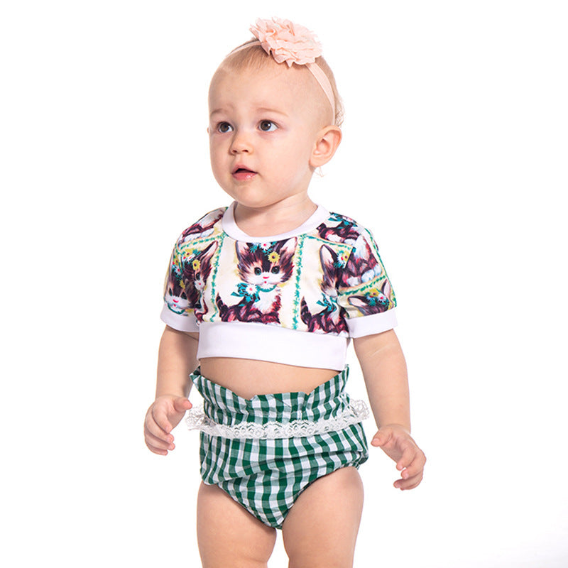 Pretty kitten printed plaid lace set