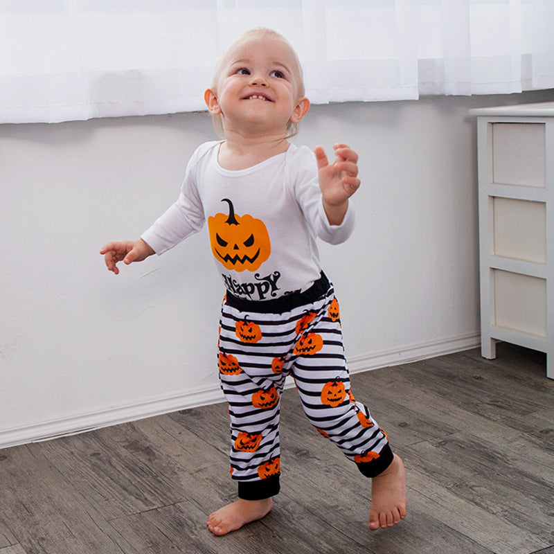 Happy Halloween Letters Striped Pumpkin Pattern Set