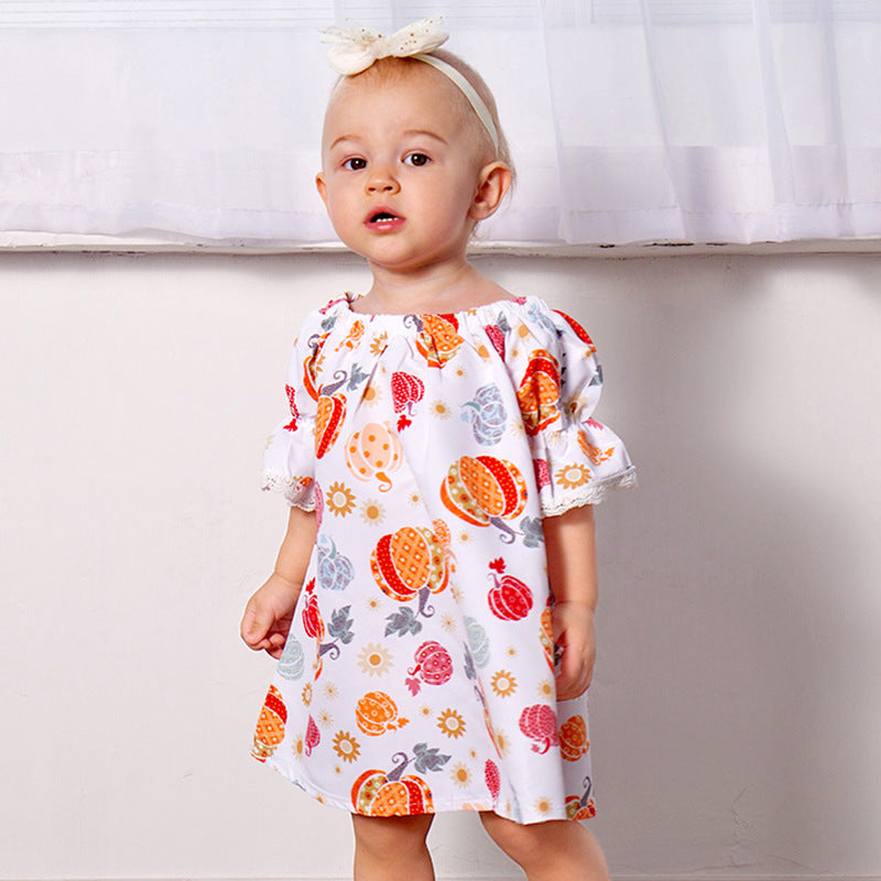 Halloween spotted pumpkin dress