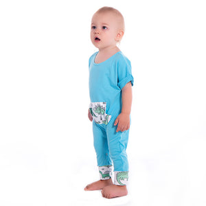 Cartoon dinosaur print big pocket romper