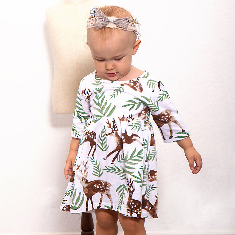 Sika deer print dress