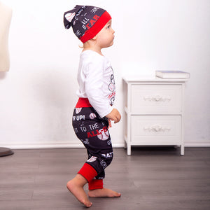 Baseball letter English print three-piece