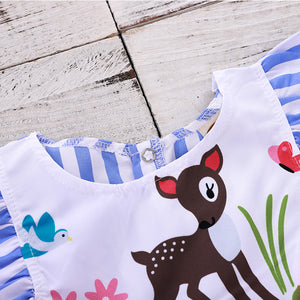 Striped sika deer print dress