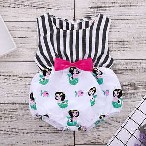 Gray striped little mermaid print romper