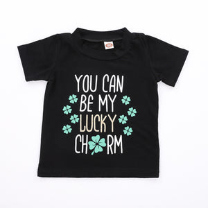 You are my lucky grass English print children's suit