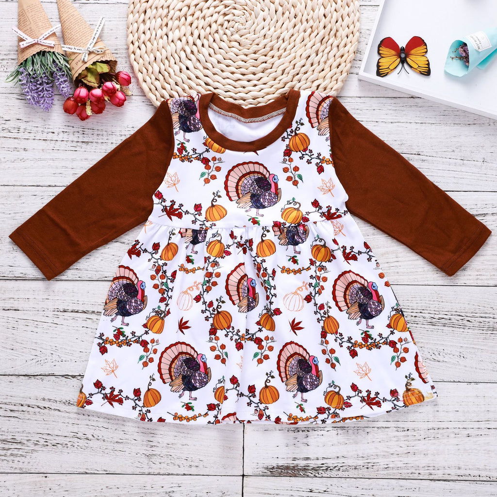 Thanksgiving vine pumpkin print dress