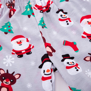 Cartoon santa claus snowman set