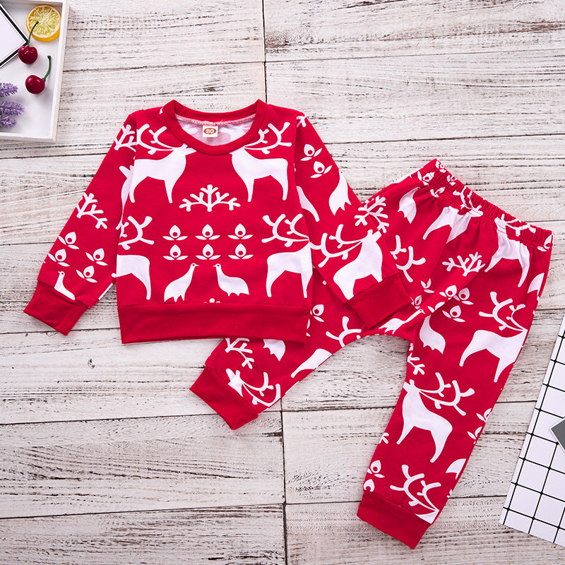 Christmas Elk Snowflake Printed Set