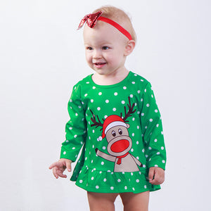 Reindeer dot print dress