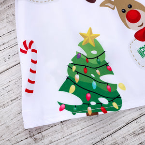 Christmas tree reindeer print dress