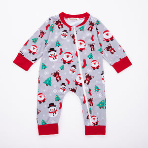 Cartoon santa claus snowman pattern romper