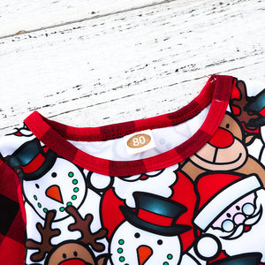 Plaid cartoon christmas elk romper